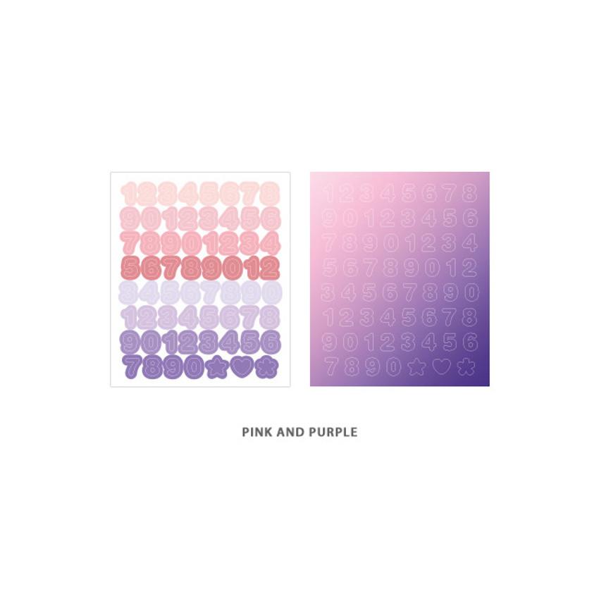 Number Pink Purple - Indigo Color and Gradation Number sticker set