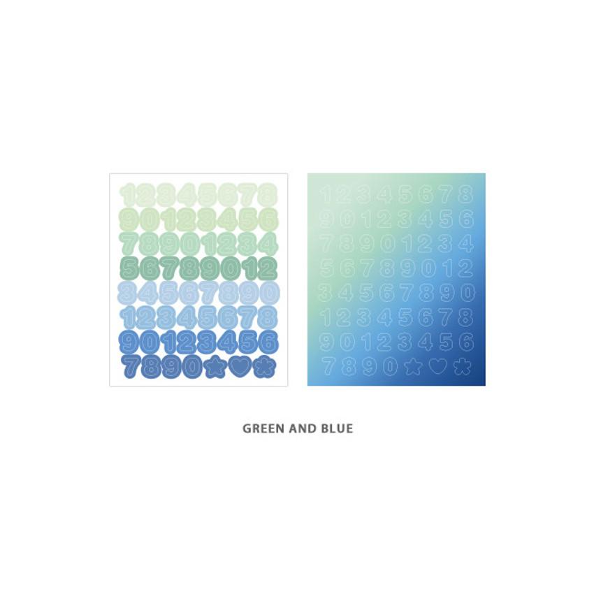 Number Green Blue - Indigo Color and Gradation Number sticker set