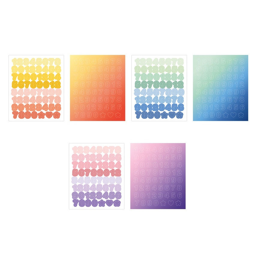 Indigo Color and Gradation Number sticker set