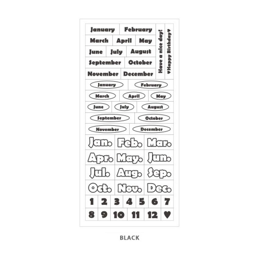 Black - Indigo Months of the year PET clear sticker