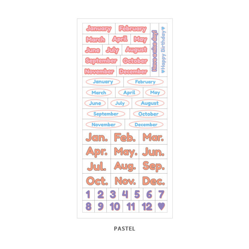 Pastel - Indigo Months of the year PET clear sticker