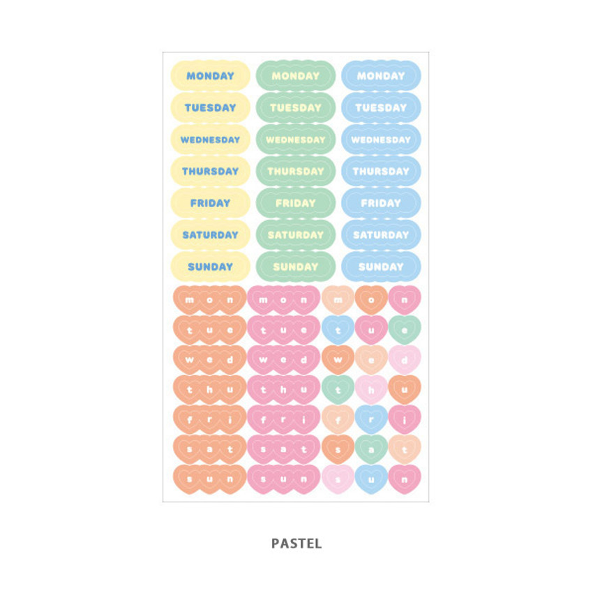 Pastel - Indigo Day of the week paper sticker