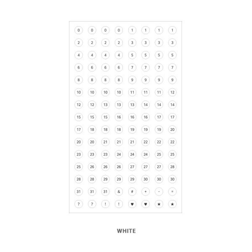 White - Indigo 31 days paper circle sticker