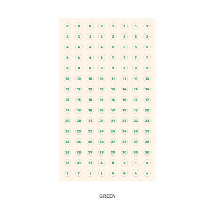 Green - Indigo 31 days paper circle sticker