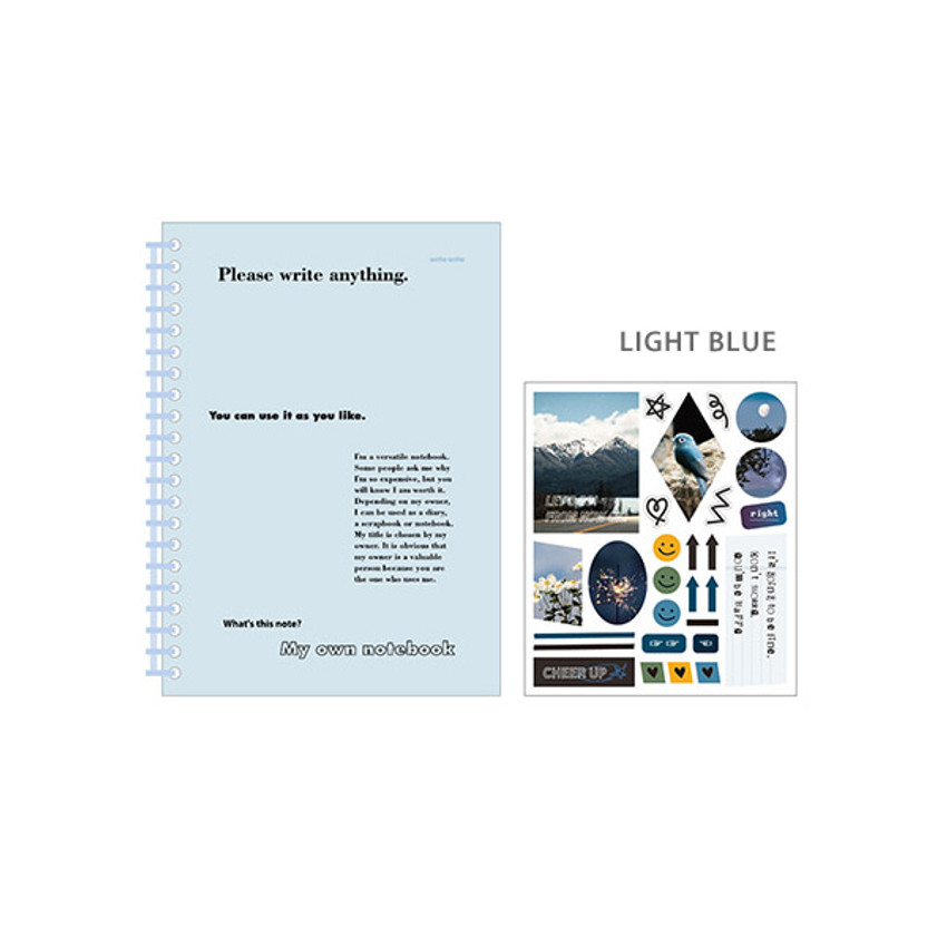 Light Blue - Ardium My own A5 plastic ring lined notebook with a sticker