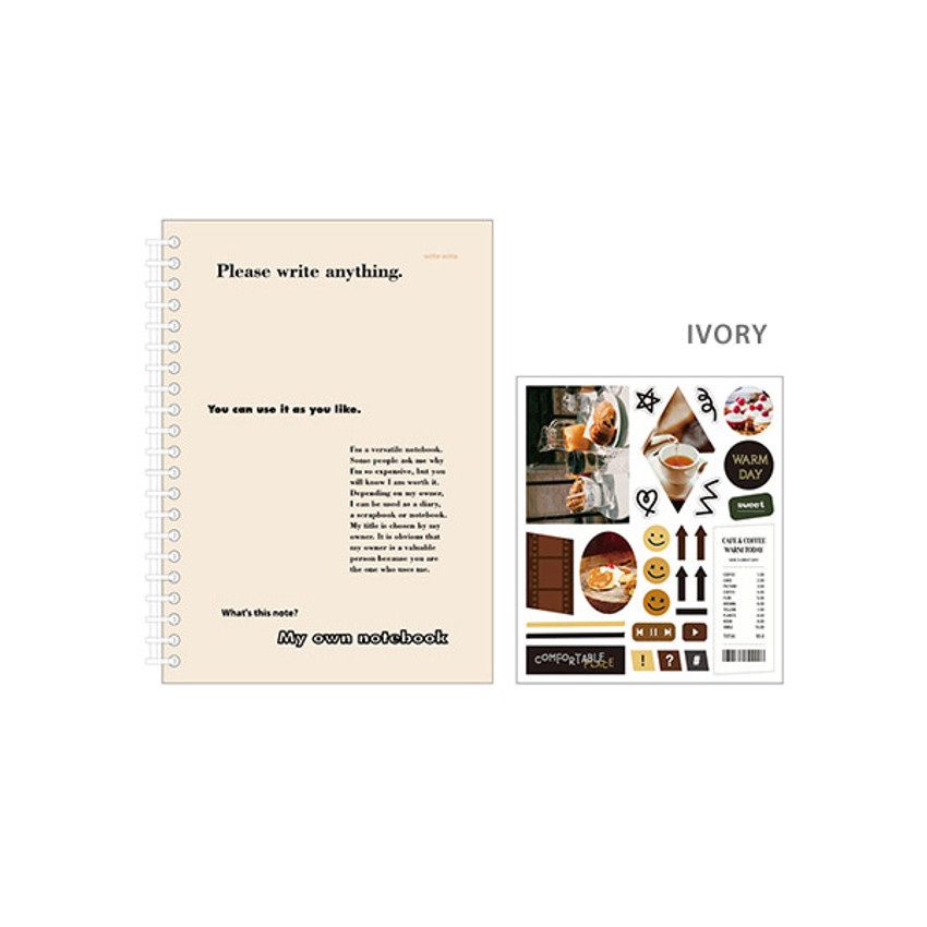 Ivory - Ardium My own A5 plastic ring lined notebook with a sticker