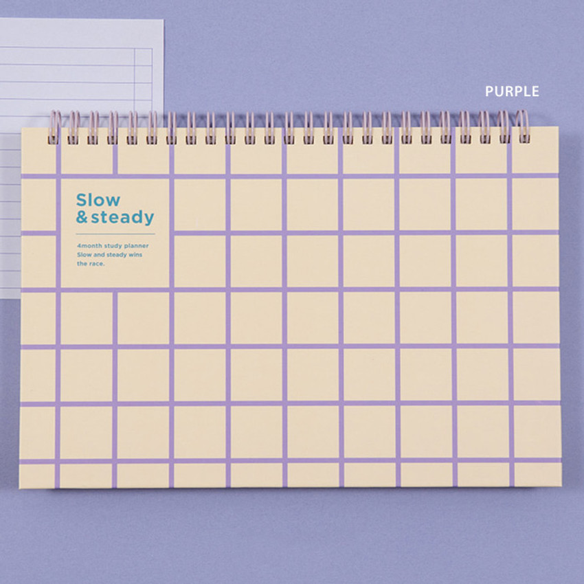Purple - Ardium Slow and steady 4 months dateless study planner