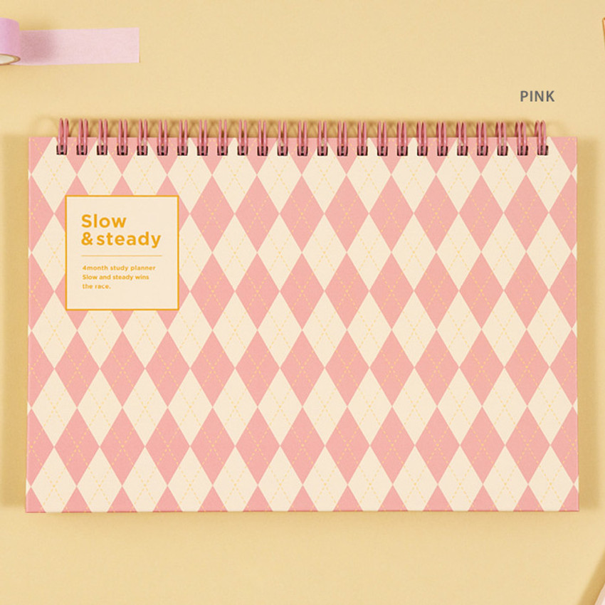 Pink - Ardium Slow and steady 4 months dateless study planner