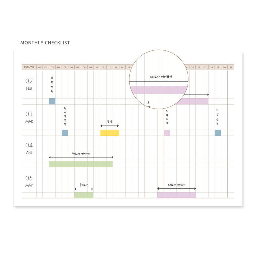 Monthly check - Ardium Slow and steady 4 months dateless study planner