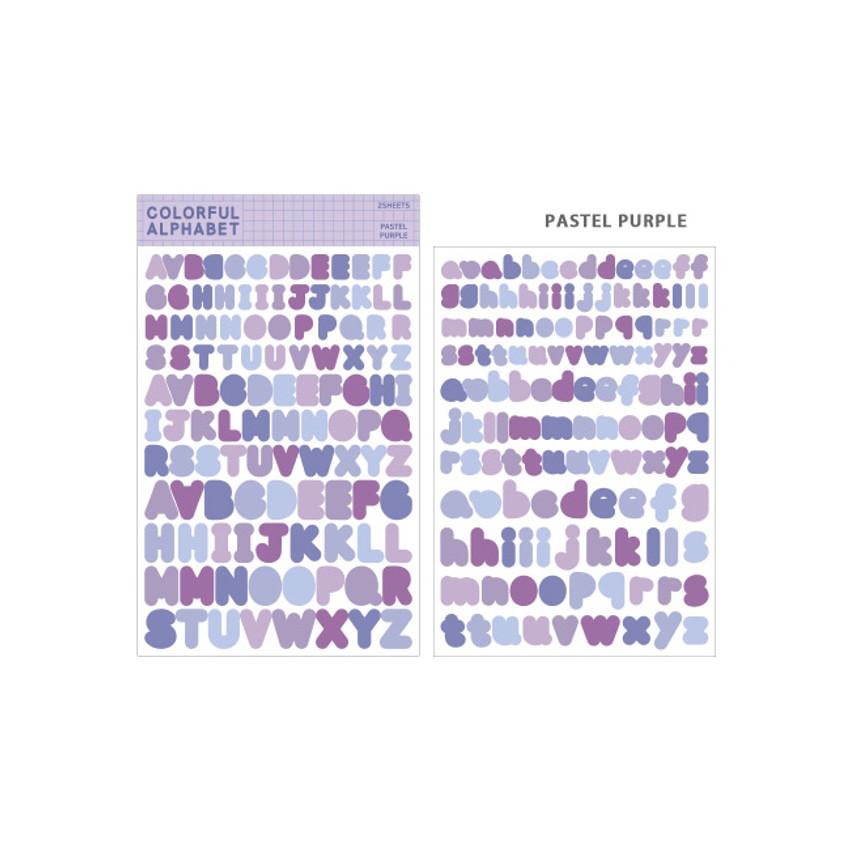 Pastel Purple - Bookfriends Colorful Alphabet translucent sticker set