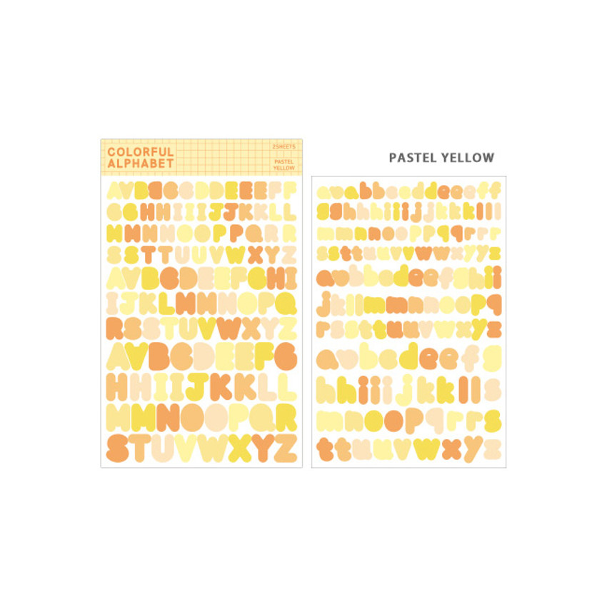 Pastel Yellow - Bookfriends Colorful Alphabet translucent sticker set