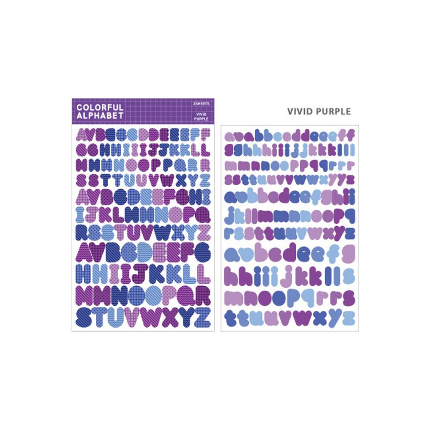 Vivid Purple - Bookfriends Colorful Alphabet translucent sticker set