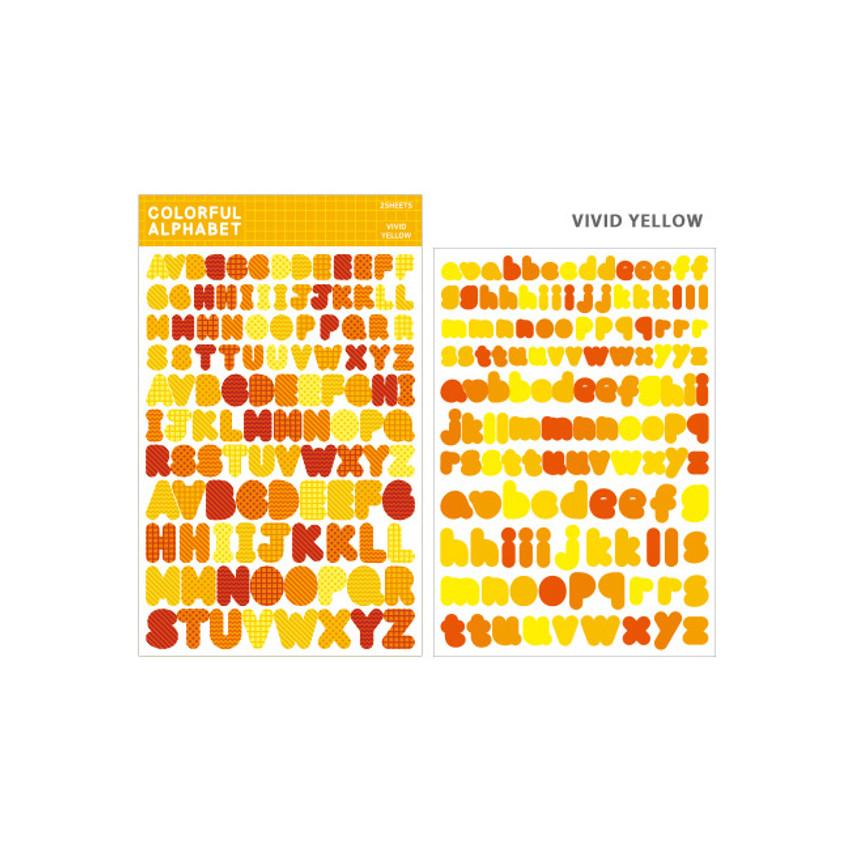 Vivid Yellow - Bookfriends Colorful Alphabet translucent sticker set