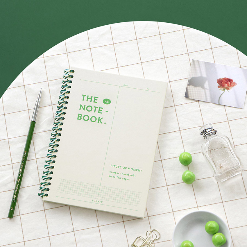 Ivory - ICONIC Vertically half divided wire bound A5 grid notebook
