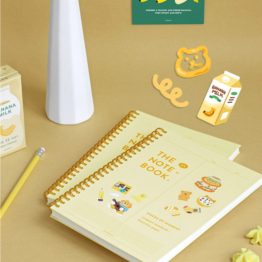 Banana milk - ICONIC Vertically half divided wire bound A5 grid notebook