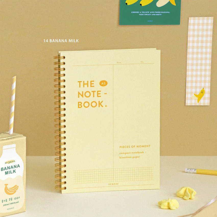 14 Banana milk - ICONIC Vertically half divided wire bound A5 grid notebook