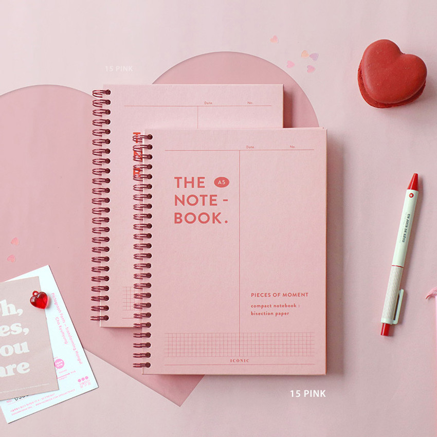 15 Pink - ICONIC Vertically half divided wire bound A5 grid notebook