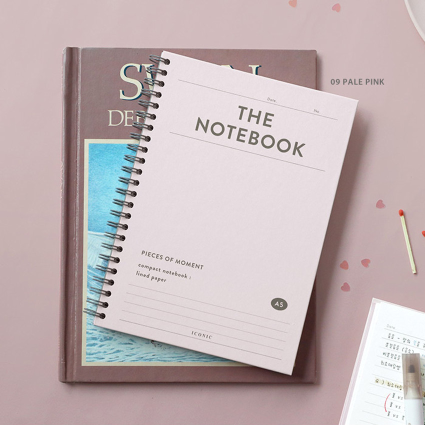 09 Pale Pink - ICONIC Compact wire bound A5 hardcover lined notebook
