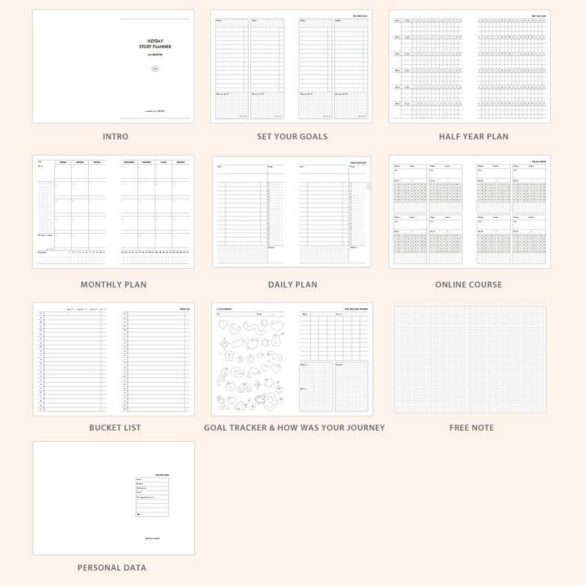 Planner sections - ICONIC Heyday 6 months hardcover dateless study planner