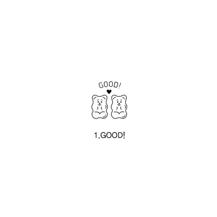 01 Good - Indigo Cheer self black inking stamp