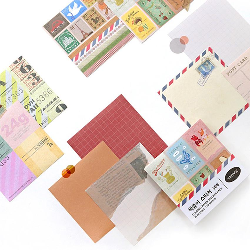 Indigo Vintage decorative paper sticker pack 50 sheets
