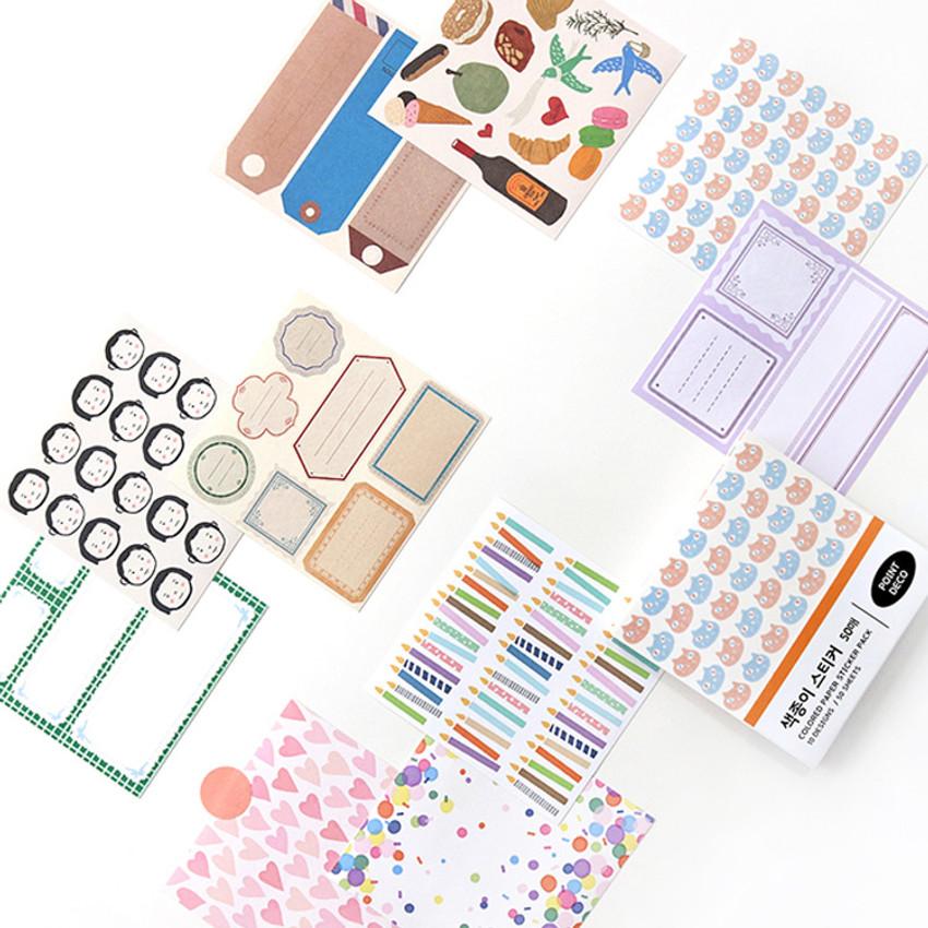 Indigo Point deco decorative paper sticker pack 50 sheets