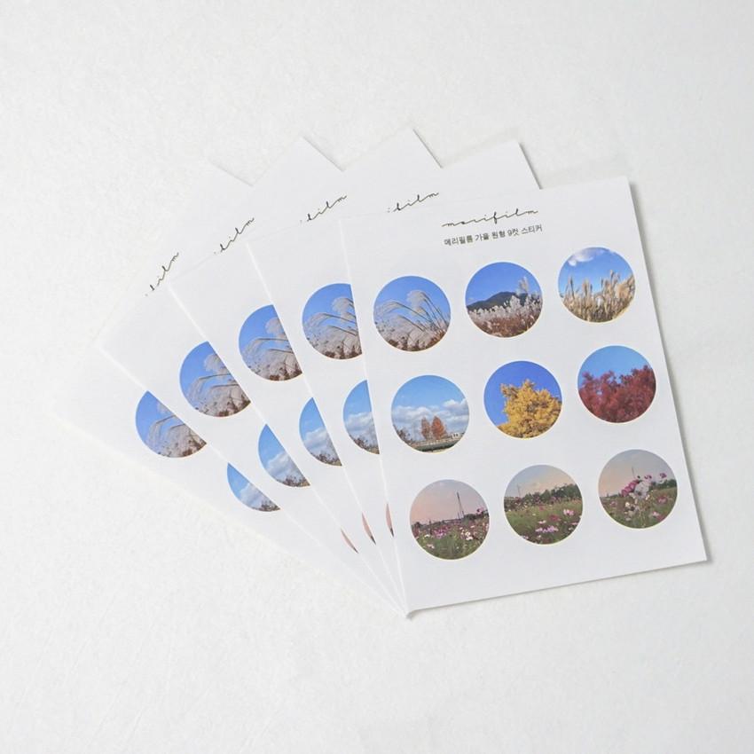 Meri Film Autumn circle paper stickers set of 5 sheets