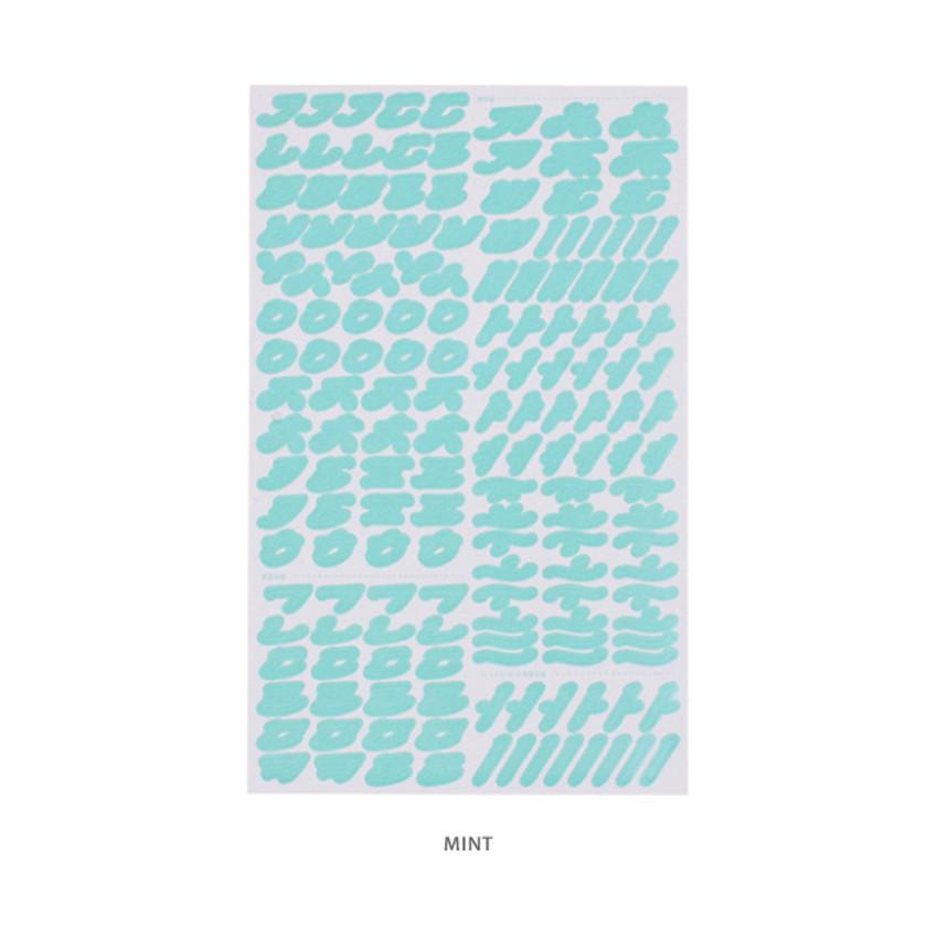 Mint - After The Rain Cinematic Korean Alphabet removable sticker