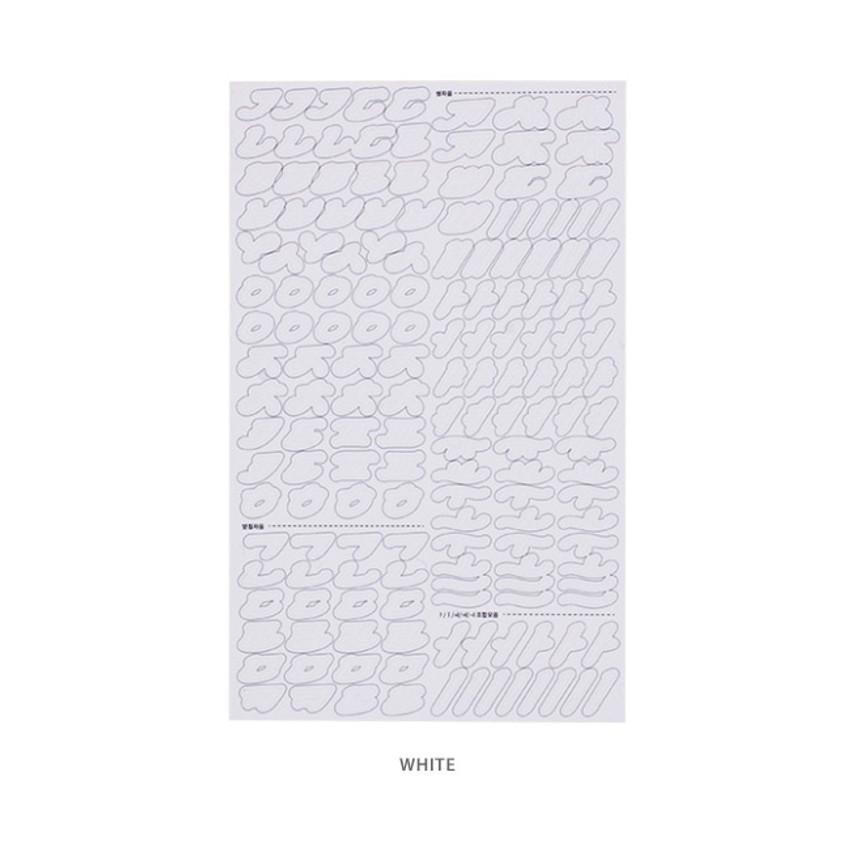 White - After The Rain Cinematic Korean Alphabet removable sticker