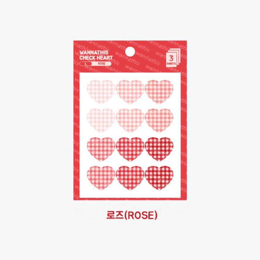 Rose -  Wanna This Heart check large deco sticker set of 3 sheets