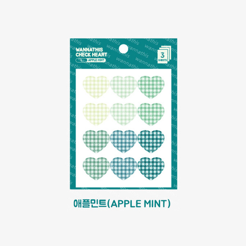 Apple mint -  Wanna This Heart check large deco sticker set of 3 sheets