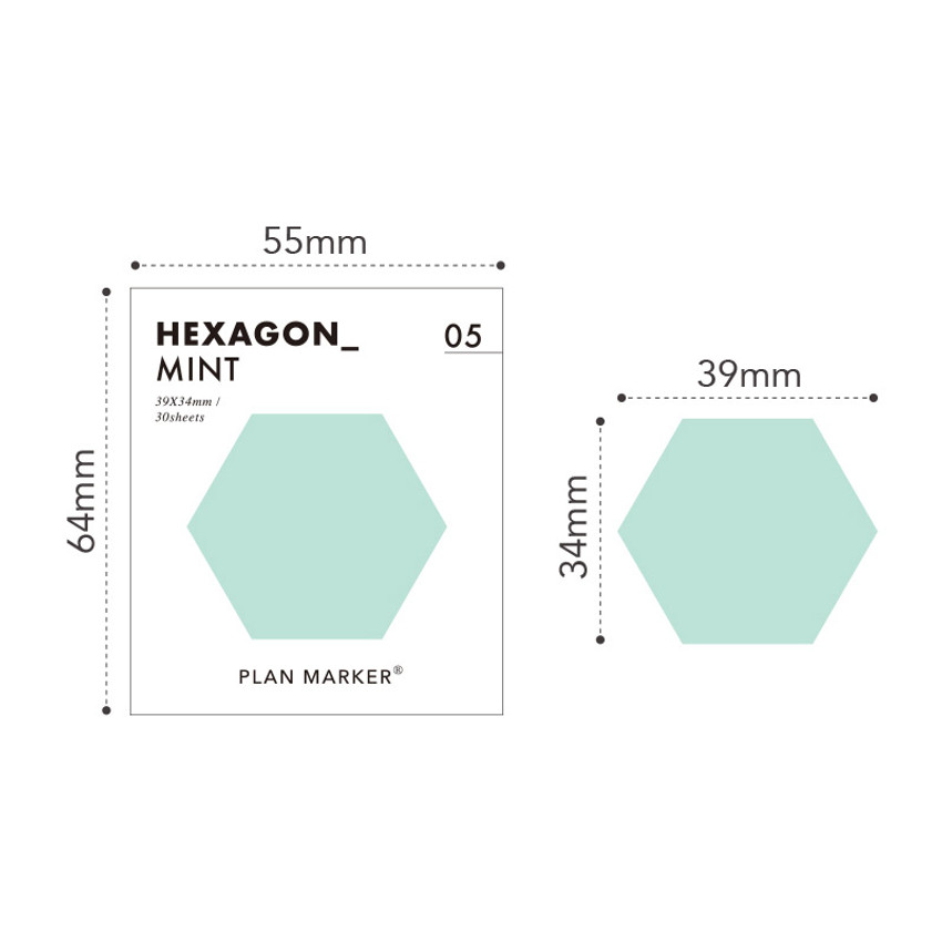 Size - PAPERIAN Hexagon large planner bookmark sticky notepad