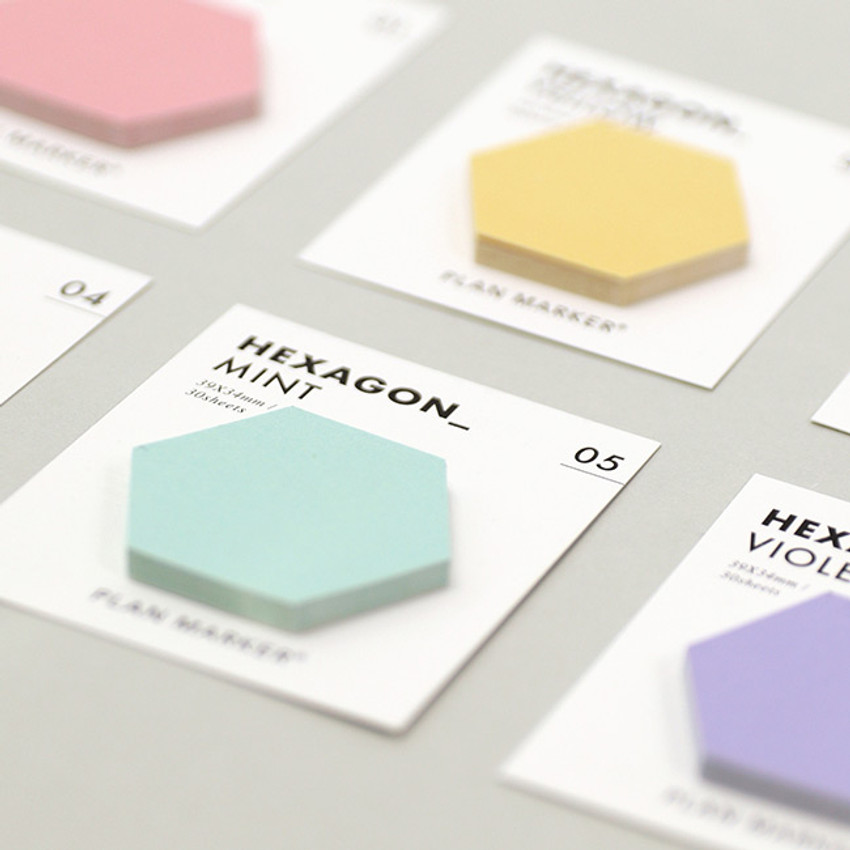 30 sheets - PAPERIAN Hexagon large planner bookmark sticky notepad