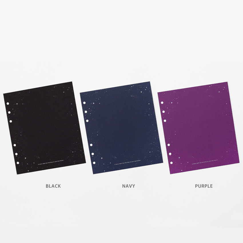 Color - 2NUL Starry wide A6 6 ring blank note paper refill set