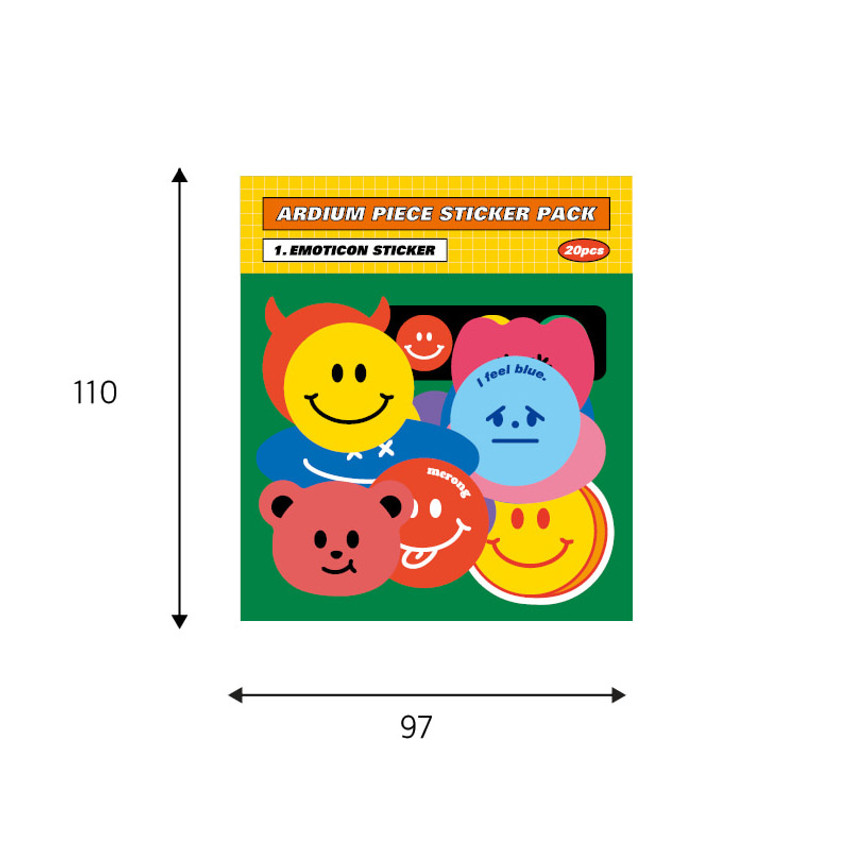 Size - Ardium 20 Pieces paper sticker pack