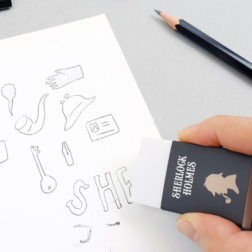 Usage example - Bookfriends World literature white pencil eraser