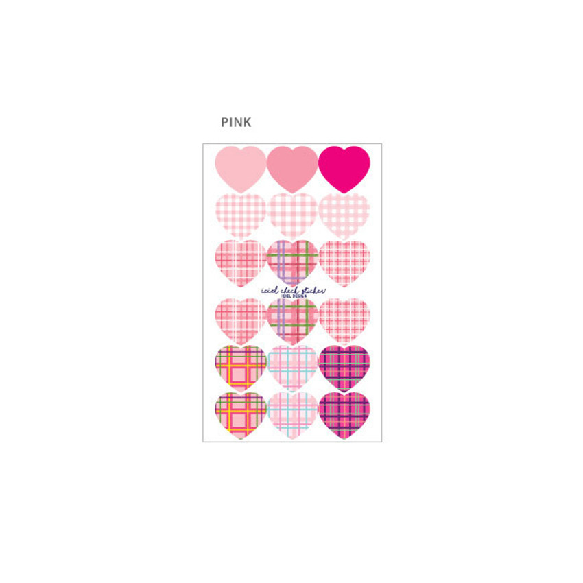 Pink - ICIEL Newtro large check heart paper sticker set