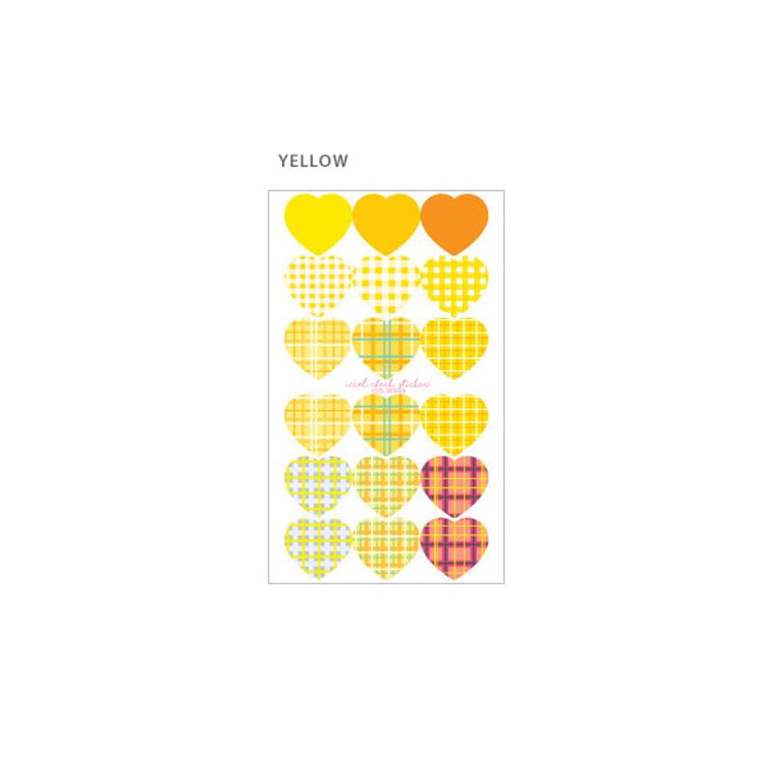 Yellow - ICIEL Newtro large check heart paper sticker set