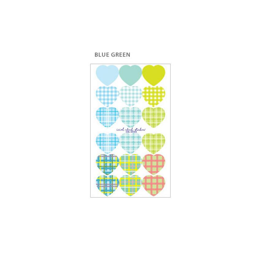 Blue Green - ICIEL Newtro large check heart paper sticker set