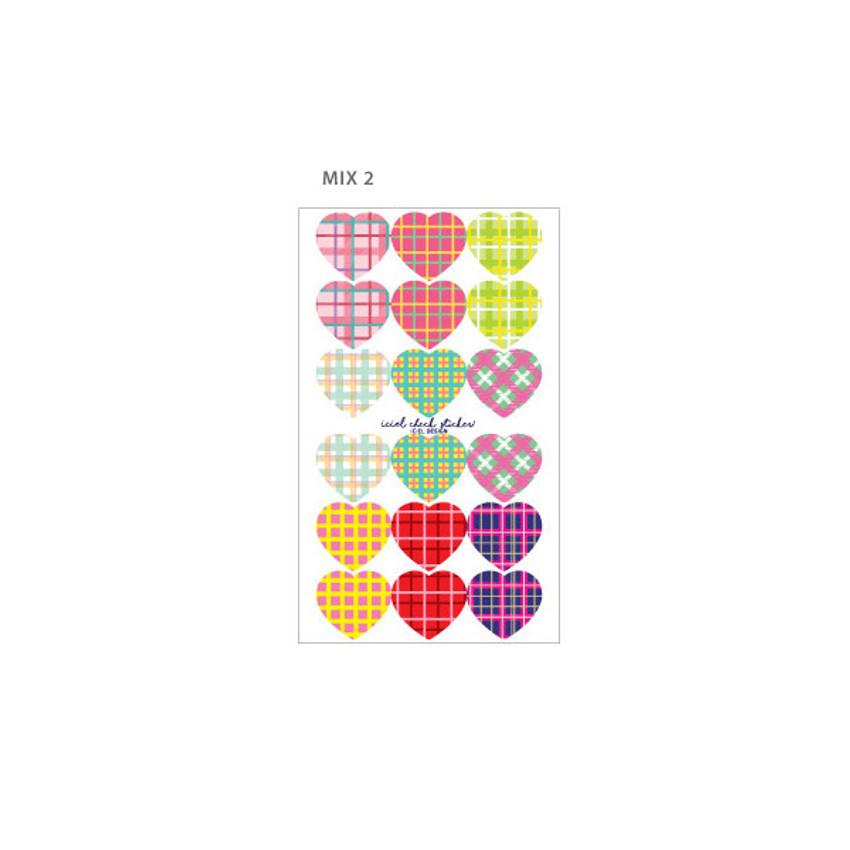 Mix 2 - ICIEL Newtro large check heart paper sticker set