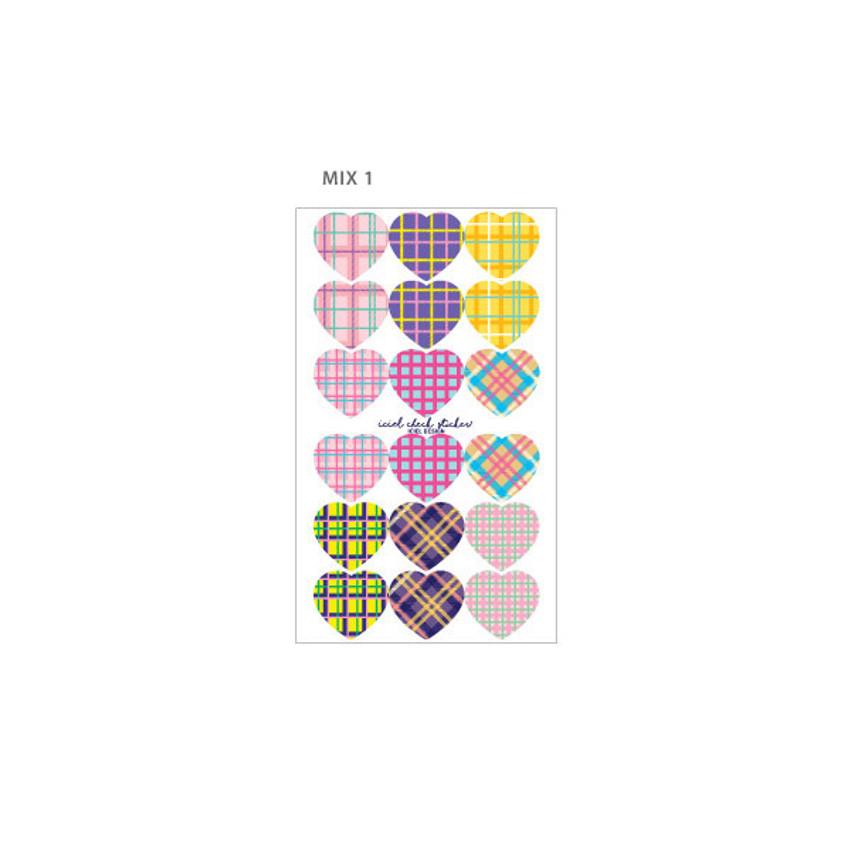 Mix 1 - ICIEL Newtro large check heart paper sticker set