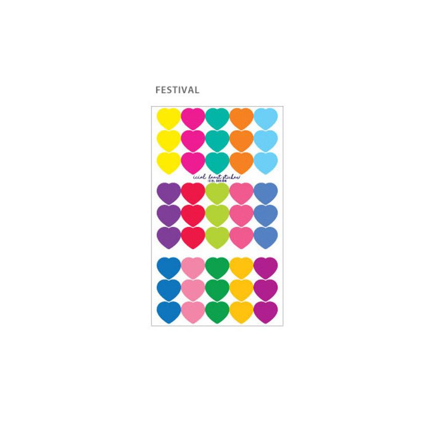 Festival - ICIEL Newtro medium check heart paper sticker set