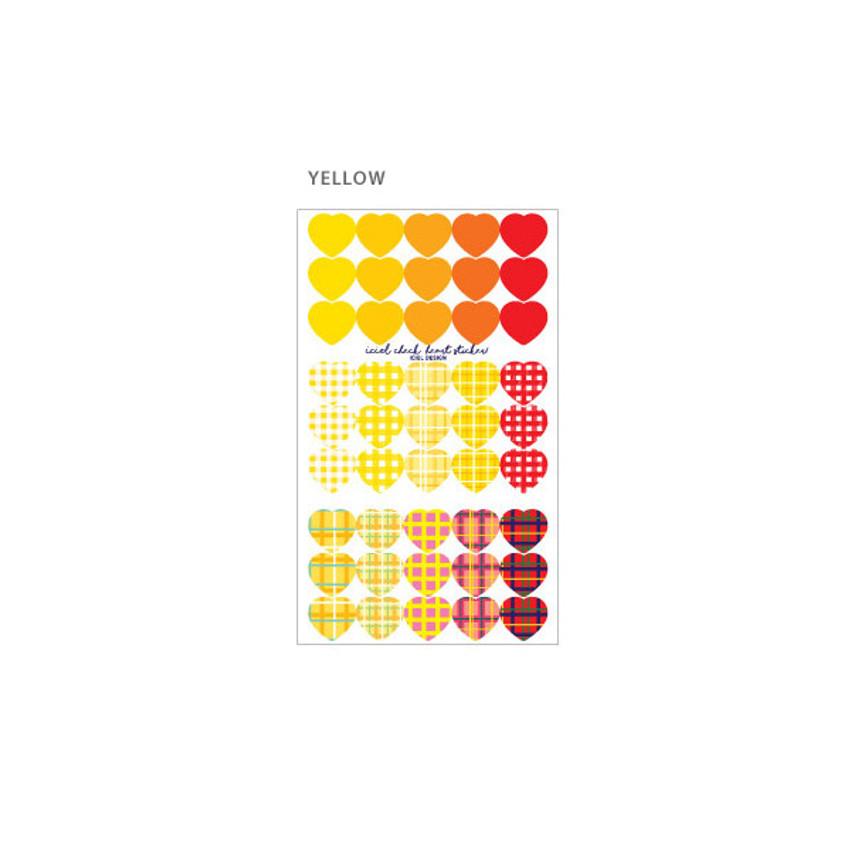 Yellow - ICIEL Newtro medium check heart paper sticker set