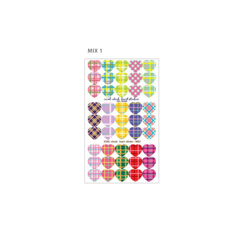 Mix 1 - ICIEL Newtro medium check heart paper sticker set