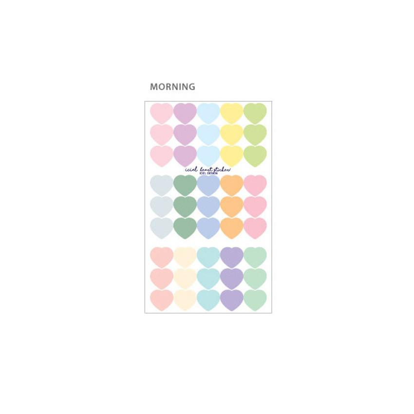 Morning - ICIEL Newtro medium check heart paper sticker set