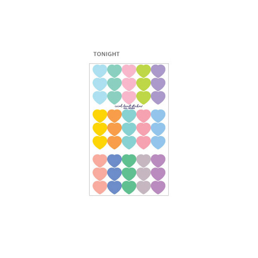Tonight - ICIEL Newtro medium check heart paper sticker set