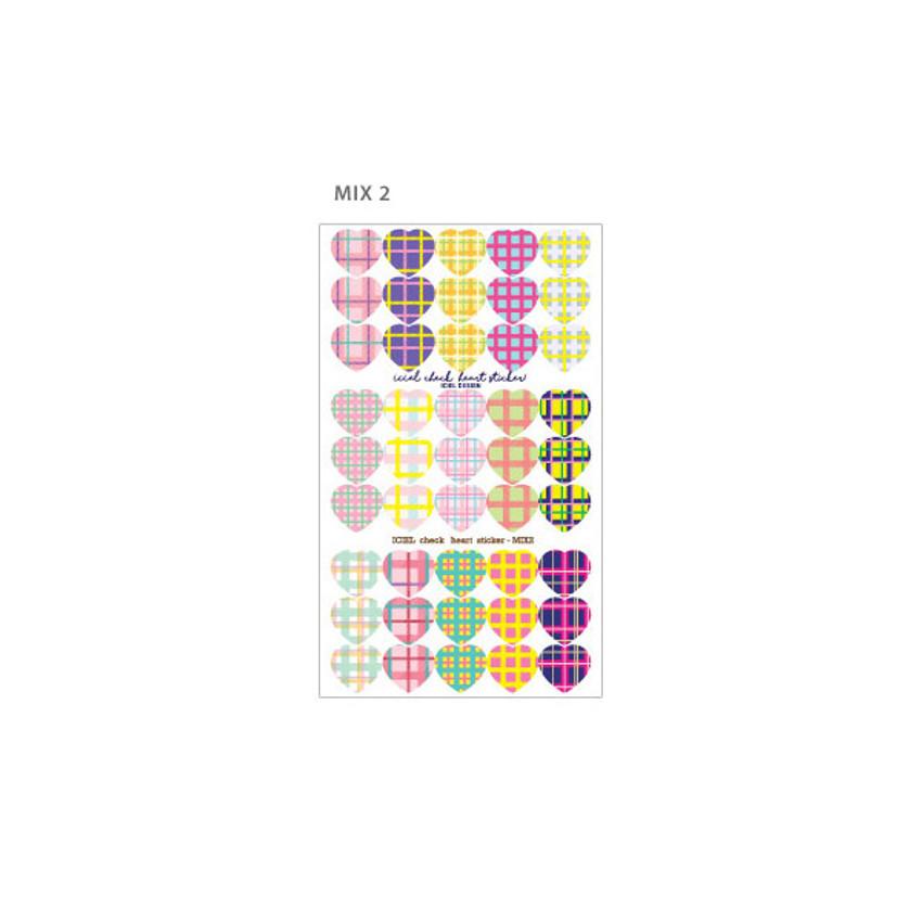 Mix 2 - ICIEL Newtro medium check heart paper sticker set