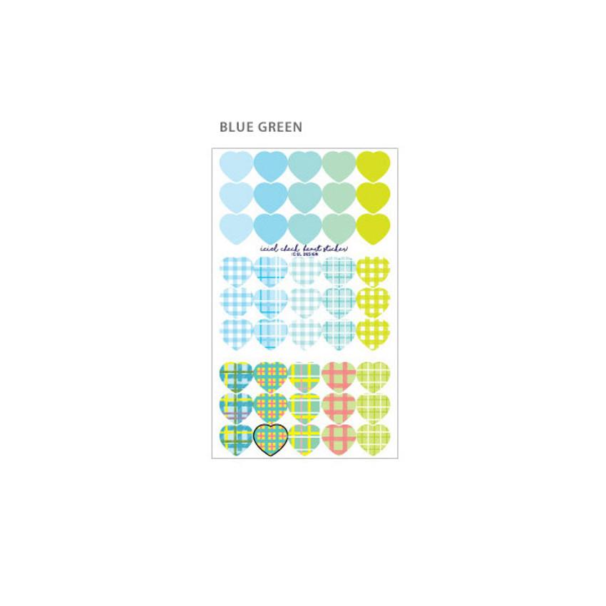 Blue Green - ICIEL Newtro medium check heart paper sticker set