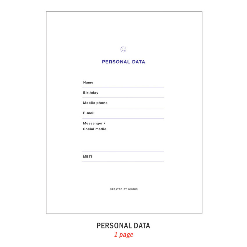 Personal data - ICONIC Bubbly dateless weekly diary planner