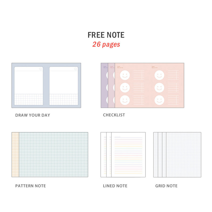 Free note - ICONIC Bubbly dateless weekly diary planner
